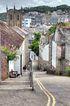 Looking down to the town centre in St Ives, Cornwall: I worked at the Porthminster Hotel as a chambermaid in 1970.