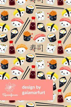 Kawaii Sushi Kawaii Sushi Roll Soy Sauce Fabric Printed by Spoonflower BTY