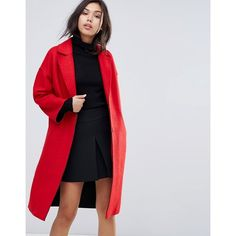 Warehouse Drop Shoulder Bonded Swing Coat ($120) ❤ liked on Polyvore featuring outerwear, coats, red, warehouse coats, leather-sleeve coats, trapeze coats, red swing coat and tall coats