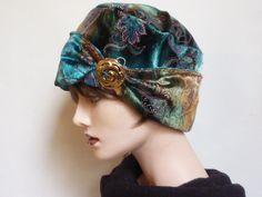 Blue, Brown And Gold Velvet Hat $55