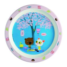 This Japanese-themed baby plate features Mouk and his friend sharing sushi under a cherry blossom tree.