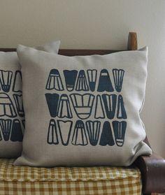 Decorative Pillow Cover Screen Print on Oatmeal Pillow with Aquamarine Shuttlecock Badminton Birdie Design