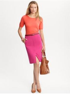 Women's Apparel: outfits we love | Banana Republic - love the orange on top + pink skirt + nude pumps - actually wore this combo the week before last!