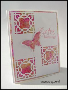 handmade Easter card By stamping up north ... pinks and white ... MS punched squares backed by printed paper ... butterfly ... lovely card!!
