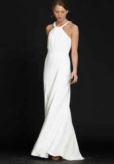 Sheath / Column Chiffon Halter Floor Length Beach Wedding Dress - Beach Wedding Dresses - Wedding Dresses