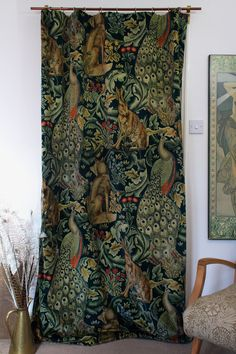 "William Morris & Co Forest Velvet & Velvet Lined Heavy Door Curtain 84"" Drop M2M 