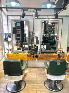 Barber Shop Interior, Barber Shop Decor, Hair Salon Interior, Salon Interior Design, Salon Design, Rustic Salon Decor, Best Barber Shop, Home Hair Salons, Barber Apron