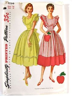 Simplicity 4138 Misses Dress and Pinafore Dress with apple pocket and full skirt sweetheart or square neck womens vintage sewing pattern by mbchills (The dress with the apple looks mighty yummy! 1950s Style, Vintage Outfits, Vintage Dresses, Vintage Dress Patterns, Clothing Patterns, 1950s Fashion, Vintage Fashion, Pinafore Dress Pattern, Mother Daughter Fashion