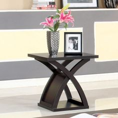 Accent End Table Side Wood Furniture Living Room Den Shelf Modern Dark Espresso #FurnitureofAmerica