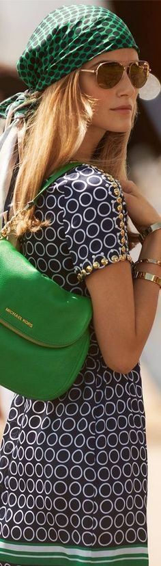 green dress with handbag