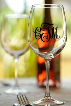 Personalized monogram wine glass