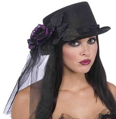 Halloween Costumes Women - Black Top Hat with Purple Rose *** Details can be found by clicking on the image. (This is an affiliate link) #WomenHalloweenCostumes
