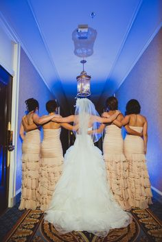The ruffles on the light peach bridesmaids outfits are to die for - Persian Wedding in San Francisco by IQphoto Studio