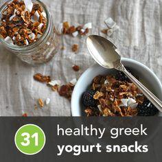 31 Healthy Greek Yogurt Snacks. because I have endless amounts of greek yogurt and need creative ways to utilize it all.