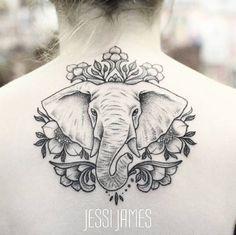 Elegant dotwork elephant tattoo design by Jessi James