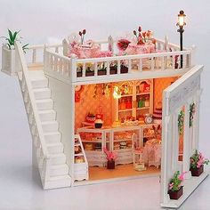 3D LED LIGHT Dollhouse miniatures The penthouse balcony Honey Time Cake Kit