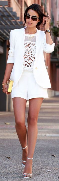Women's fashion | Street style elegance lace & shorts with fitted jacket
