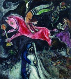 Marc Chagall: Le cheval rouge. 1938 – 1944. Huile sur toile. 114cm x ...