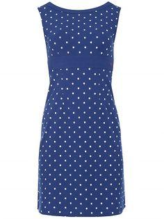 Mademoiselle Yeye Lolette Dress, blue white dots polkadots print jurk blauw met witte stippen print 1960s vintage look