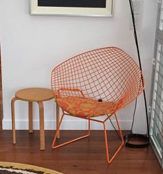 Panton's 'Geometri' on a custom painted, orange diamond chair, upholstery by bertoiapads.com Wire Chair, Chair Upholstery, Custom Paint, Pantone, Orange, Diamond, Projects, Furniture, Home Decor