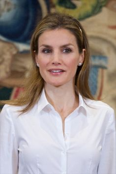 Princess Letizia of Spain attends several audiences at the Zarzuela Palace on 08 May 2014 in Madrid, Spain