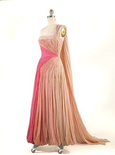 Jean Desses Lighter Shades of Pink Gown   French, 1950s  Of draped silk chiffon