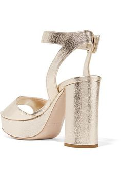 Miu Miu - Metallic Textured-leather Platform Sandals - Gold - IT37.5