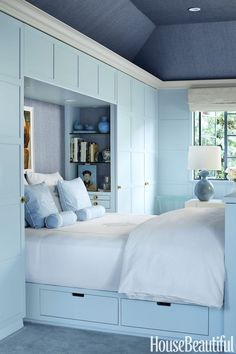 The soft shade of blue can enhance your mood every time you wake up or get into your bedroom. The dark shade of blue can make your bedroom serene and peaceful. Read Beautiful Blue Bedroom Ideas 2020 (You Shouldn't Miss) Bedroom Built Ins, Interior Design, Bedroom Decor, Bedroom Colors, Small Master Bedroom, Bedroom Interior, Home, Blue Bedroom, Coastal Bedrooms