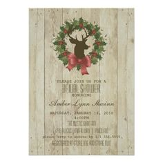 DON'T FORGET - CLICK ON THE LARGER IMAGE TO GET PRICING INFORMATION AND LEARN HOW YOU CAN CUSTOMIZE THIS FOR YOUR EVENT!  Winter Woodland Deer Bridal Shower Wood Grain Invites