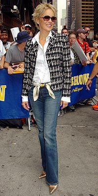 Great jacket, scarf, shoes and a great classic white shirt - a must have basic.Sharon Stone