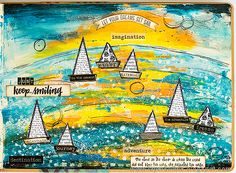 Layers of ink - Acrylic Background Art Journaling Tutorial by Anna-Karin Background, Journal, Happy Art, Sailing Art, Dylusions, Art, Art Journal, Dyan Reaveley, Art Journal Pages