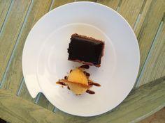 Orange and chocolate dessert serves on Churchill Atlantic collection, El Pimpi , Malaga, Spain