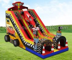 GS-242 Racecar dual slide Size meter:11mLx5.5mWx7.5mH Size feet: 36ftLx18ftWx24.6ftH #inflatable #inflatableslide #racecarslide