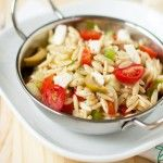 Greek Orzo Salad- I took out the olives and substituted champagne vinegar for the red wine vinegar.  Super easy and yummy!