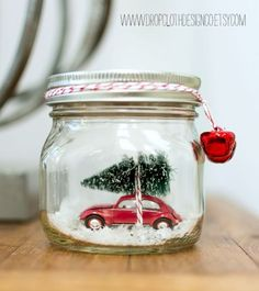 Christmas Crafts - Car in a Jar Snow Globe by Mason Jar Crafts Love and other great DIY holiday dec. Mason Jar Christmas Crafts, Noel Christmas, Mason Jar Crafts, Mason Jar Diy, Christmas Projects, Holiday Crafts, Vintage Christmas, Christmas Decorations, Christmas Cactus