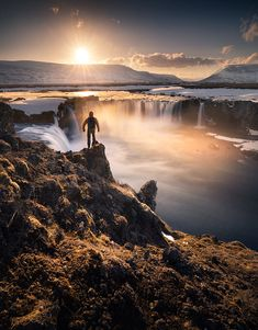 Goðafoss, by Karol Nienartowicz Instagram Website, Autumn Photography, Beautiful Lights, Iceland, Sunrise, Waterfall, Scenery, Explore, Adventure
