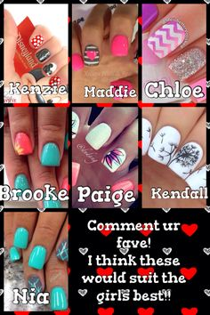 All of those beautiful nail's should fit those beautiful girls