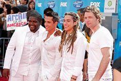 Season 7 Idol contestants Chikezie (from left), David Hernandez, Jason Castro, and Michael Johns Jason Castro, Season 7, American Idol, David, Coat, Fashion, Moda, Sewing Coat, Fashion Styles