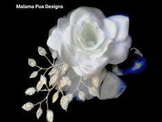 GARDENIA HAIR CLIP, Hair Accessory, Wedding Headpiece, Tropical silk flower, Crystal center, Beach Wedding, Bridal flower clip, Hawaiian by MalamaPua on Etsy