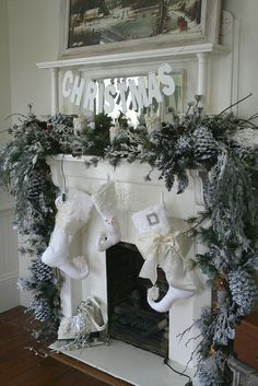 35 Beautiful Christmas Mantels - Christmas Decorating - like the mix of greens and white Christmas Tree Decorations, Christmas Wreaths, Christmas Crafts, Holiday Decor, Christmas Stockings, Room Decorations, Noel Christmas, Winter Christmas, Green Christmas