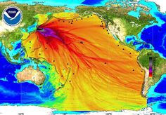 This graphic is being circulated along with reports regarding leakage of radiated water from the Fukushima nuclear power plant in Japan.  While the reports of leaks are true, this map has nothing to do with radiated water spreading across the ocean. It is actually a graphic released by the NOAA in March 2011 to show the impact of the tsunami on the size of waves across the Pacific at that time.