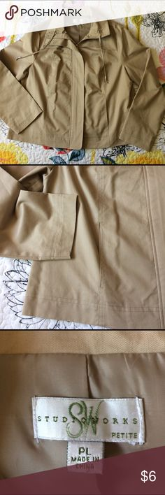 Pretty tan jacket Long sleeve, has hidden front zipper, two front pickets, tan in color, fully lined inside, very nice jacket, very light weight. Studio Works Jackets & Coats