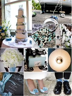 Wedding inspiration for a black, white, and blue color palette.