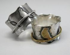 Sterling Silver Ginkgo Branch Spinner Ring by janiceartjewelry