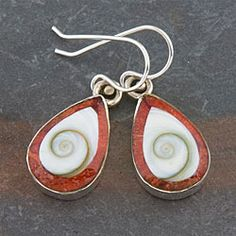Sterling Silver Red Coral and Shiva Shell Earrings (Indonesia)   Overstock.com Shopping - Great Deals on Earrings