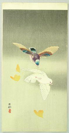 1900-1910 - Shōson, Ohara -Two Pigeons