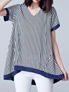 Casual Women Stripe V-Neck Short Sleeve Irregular Chiffon T-Shirt #BlousesShirts #PlusSize