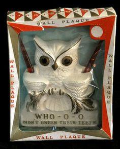 Vintage Miller Studio Chalkware Owl Wall Toothbrush Plaque