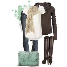 Fall Fashion Trends | Cream, Brown, & Seafoam | Fashionista Trends Great pop of color! Roupas Fashion, Look Fashion, Fall Fashion Outfits, Fall Fashion Trends, Fall Trends, Winter Outfits, Fashion Beauty, Womens Fashion, Fashion 2014