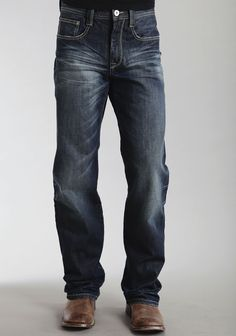 b64a7e75 Stetson Mens Stetson Modern Fit Jeans Embroidered Deco Back Pkt Ows  #MensJeans Denim Jeans Men